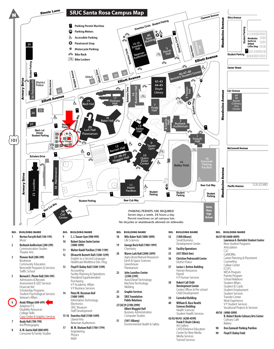 santa rosa jc campus map Copy Center Graphics Services